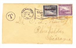 1903 - Nicaragua 10C + 20C (Kopfstehender Aufdruck)  Als Nachporto Auf Unfrankiertem Brief Von Philadelphia - Nicaragua