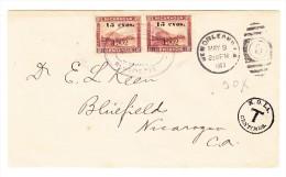1903 - Nicaragua 2 X 15 C  Bluffields Gestempelt Als Nachporto Auf Unfrankiertem Brief Von New Orleans - Nicaragua