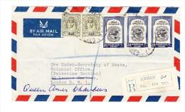 1950 Flugpost-R-Brief Von Jordanien Amman Nach London Mit 2 X 15 M Palästina Hilfe Und 3 X 20 F - Jordanie