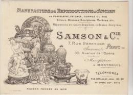 Paris 30 Av. De L'Opéra : TB Illustration D´une Carte Pub. SAMSON, Manufacture De Repros D'ancien. - Publicités