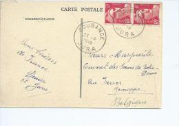 Marianne De Gandon No 721 En Paire Dont 1timbre  Petit Format Sur CPA De Chatel Le Couvert (Jura) - Poststempel (Briefe)