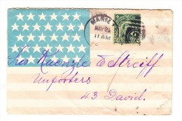 """1906/10 2 C. Rizal Auf Dekorativem Flaggenumschlag Mit Nummernstempel """"3 Manila May 24"""" - Philippines"""