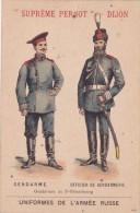 """CHROMO """" SUPREME PERNOT """" DIJON  UNIFORMES DE L´ARMEE RUSSE : Gendarme Et Officier De Saint PETERSBOURG - Pernot"""
