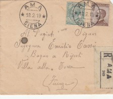 AMA / SIENA 1919 - AFFRANCATURA MISTA LEONI / MICHETTI  - RACCOMANDATA - S2405 - Storia Postale