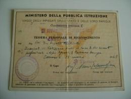 1948   CASSANO   MURGE   BARI TESSERA   FERROVIA  PROF   AVVIAMENTO  PROFESSIONALE  TIPO  AGRARIO     ARCH TESSERE - Season Ticket