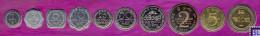 Sri Lanka Money, Complete Set Of 10 Coins, 1 Cent To 10 Rupee, UNC - Sri Lanka
