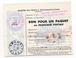 """1967 - BON POUR UN PAQUET EN FRANCHISE POSTALE Avec CACHET """"MARINE NATIONALE / CENTRE ADMINISTRATIF DU PORT DE BREST"""" - Marcophilie (Lettres)"""