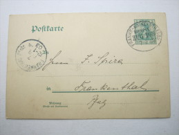 1903, Bahnstempel Frankf.- Mainz - Strassb. / Zug 103, Karte - Alsace-Lorraine