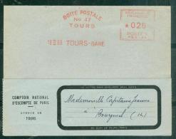 """Oblitération Mécanique Rouge """"Boite Postale N°47 Tours / 19 II 60  Tours-Gare """"   - Ln17918 - Marcofilie (Brieven)"""