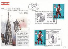 """1986, FDC-Kombi """"300 Jahre Wiener Berufsfeuerwehr"""" M. Schmuckkuvert U. Sst. - Feuerwehr"""