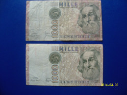 2  BANCONOTE DA 1.000 LIRE  ( MARCO  POLO ) CIRCOLATE  Lotto 1 - [ 2] 1946-… : République
