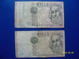 2  BANCONOTE DA 1.000 LIRE  ( MARCO  POLO )  CIRCOLATE Lotto 2 - 1000 Lire