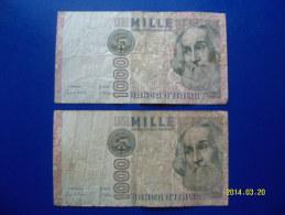 2  BANCONOTE DA 1.000 LIRE  ( MARCO  POLO )  CIRCOLATE Lotto 3 - 1000 Lire
