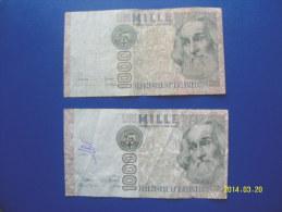 2  BANCONOTE DA 1.000 LIRE  ( MARCO  POLO )  CIRCOLATE Lotto 4 - 1000 Lire