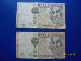 2  BANCONOTE DA 1.000 LIRE  ( MARCO  POLO )  CIRCOLATE Lotto 5 - 1000 Lire