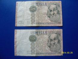 2  BANCONOTE DA 1.000 LIRE  ( MARCO  POLO )  CIRCOLATE Lotto 6 - 1000 Lire