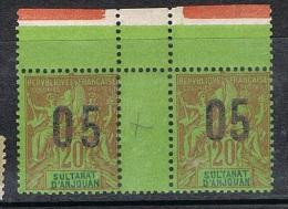 ANJOUAN N°23 N** En Paire Galvano, Variété Surcharge Espacée Tenant à Normal - Anjouan (1892-1912)