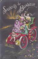 CPA FANTAISIE FEMME STYLE PHOTO VOITURE AUTO BEAU VISUEL BEBE MONTAGE ?? 1908 - Women