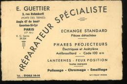 Paris 17e Carte De Visite Guettier Rue Ruhmkorff Réparateur Spécialiste 8x12 Cm - Visitenkarten