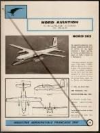 Nord Aviation Nord 262 1960s Fiche Descriptive - Document Rare - Profiles