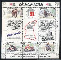 ISLE OF MAN  Mi.Nr. Block 15 I  80 Jahre Tourist-Trophy-Bergkurs - PHILA NIPPON '91 - MNH - Man (Ile De)