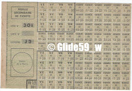 Feuille Secondaire De Tickets - Série N° 301 - Catégorie J3 (Viande) - Documents Historiques