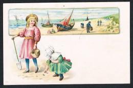 CPA Litho, Scène De Plage, Bateaux - Enfants .. Chocolaterie Derbaix - Illustrateurs & Photographes