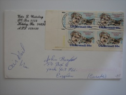 United States US 1998 Commercial Cover Tampa FL To UK 35c X4 Plate Block Stamp - United States