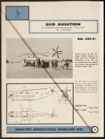 Sud Aviation SA 321 F Hélicoptère Civil Super Frelon - 1960s Fiche Descriptive - Document Rare - Hélicoptères
