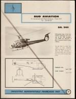 Sud Aviation Hélicoptère SA 340 - 1960s Fiche Descriptive - Document Rare - Hélicoptères