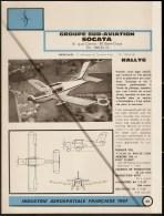 Sud Aviation / Socata Rallye Commodore - 1960s Fiche Descriptive Sheet - Document Rare - Profiles