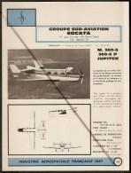 Sud Aviation / Socata M 360-6 P Jupiter - 1960s Fiche Descriptive - Document Rare - Profiles