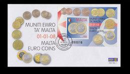 Malta 2008 - Malta Euro Coins FDC - First Day Cover - Malta