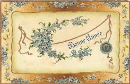 FANTAISIE  GAUFREE   FLEURS  FER A CHEVAL  BONNE ANNEE - Fantaisies
