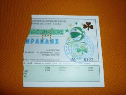 Panathinaikos-Iraklis Greek Championship Basketball Ticket 14/12/2002 - Tickets D'entrée