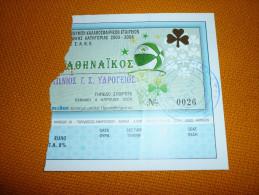 Panathinaikos-Panionios Greek Championship Basketball Ticket 4/4/2004 - Tickets D'entrée