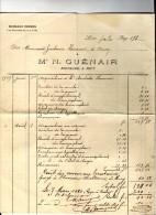 Facture , Maitre N. GUENAIR , Notaire à HUY , Nord , 1909 , Frais Fr : 1.80€ - Facturas & Documentos Mercantiles