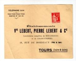 Enveloppe , établissements Veuve LEBERT , PIERRE LEBERT & Cie , TOURS - Factures & Documents Commerciaux