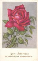 Carte Postale Ancienne Fantaisie - Roses - Zum Geburstag - Fantaisies