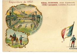 75 CPA Paris Exposition 1900 Litho Hussards Militaria Militaire Fete De Nuit Sur La Seine Cichorie Bourgeois - Expositions