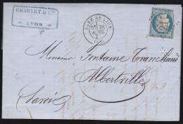 France - Lettre N° 60 Obl 1871 - Cachets: GC 2145/ Gare De Lyon / Lyon / Albertville - 1849-1876: Classic Period