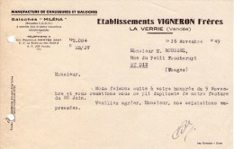 """Ancienne Facture -  Manufacture De Chaussues Et Glaches """"Miléna"""" - VIGNERON Frères - LA VERRIE (vendée) - France"""