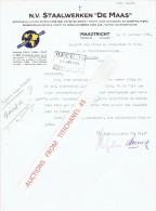 """Brief 1950  MAASTRICHT - STAALWERLEN """"DE MAAS"""" - Getrokken Ijzeren Buizen Voor Gas, Water En Stoom.... - Pays-Bas"""