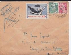 """1948 - LETTRE Avec RARE VIGNETTE Pour Le REFERENDUM """"DE GAULLE"""" COTE MAYER 225EUR ,de CHAMALIERES Pour COLOMBEY LES 2 E. - Liberación"""