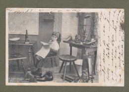 Cpa Photographe E. Scheithauer - Cordonnier, Schuhmacher, Shoemaker, Enfant, Kinder, Children, Boy, Journal, Paper 1906 - Illustrateurs & Photographes