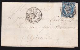France - Lettre N° 60 Obl 1874 - Cachets: CaD Richard Lenoir / Paris A Bordeaux D / Libourne - 1849-1876: Classic Period