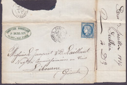 France - Lettre N° 60 Obl 1876 - Cachets: CaD Cardinal Lemoine / Libourne - 1849-1876: Classic Period