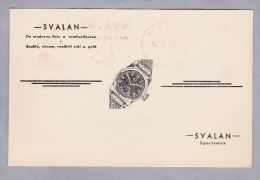 MOTIV UHREN Svalan 1943-07-27 Illustrierter Firmen Frei Stempel Auf Illustrierter Karte - Horlogerie