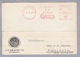 MOTIV UHREN OMEGA 1934-10-02 Stockholm Firmen Freistempel Auf Illustrierter Karte - Horlogerie