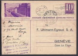 SUISSE - 1937 -  CARTE ENTIER POSTAL ILLUSTRE POUR GENEVE - - Entiers Postaux